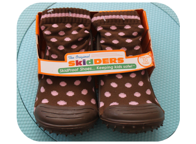The Hybrid Infant Girl Skidder with the brown-pink dots design is  fascinating and adorable. It has an outsole which weighs like a feather and  helps my ... - SkidDERS – Women And Kid's Gripper Socks And Shoes Giveaway