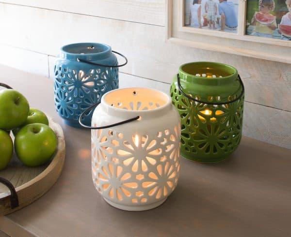 Lights in bloom ceramic lantern